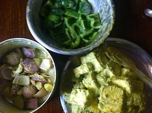 coat vegetables too Paneer and Potato Tikka Skewers