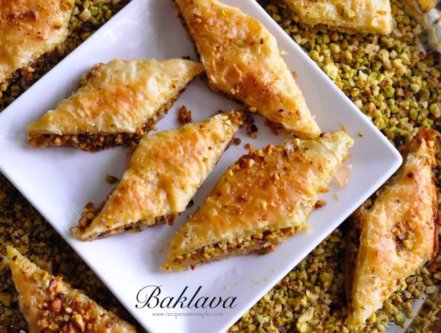 baklava with pistachio and cashew nuts