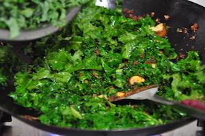 kale fried rice add kale little by little