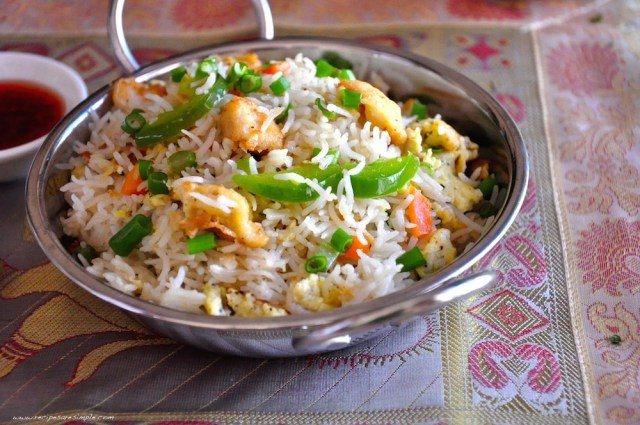 Indo Chinese Chicken Fried Rice recipe