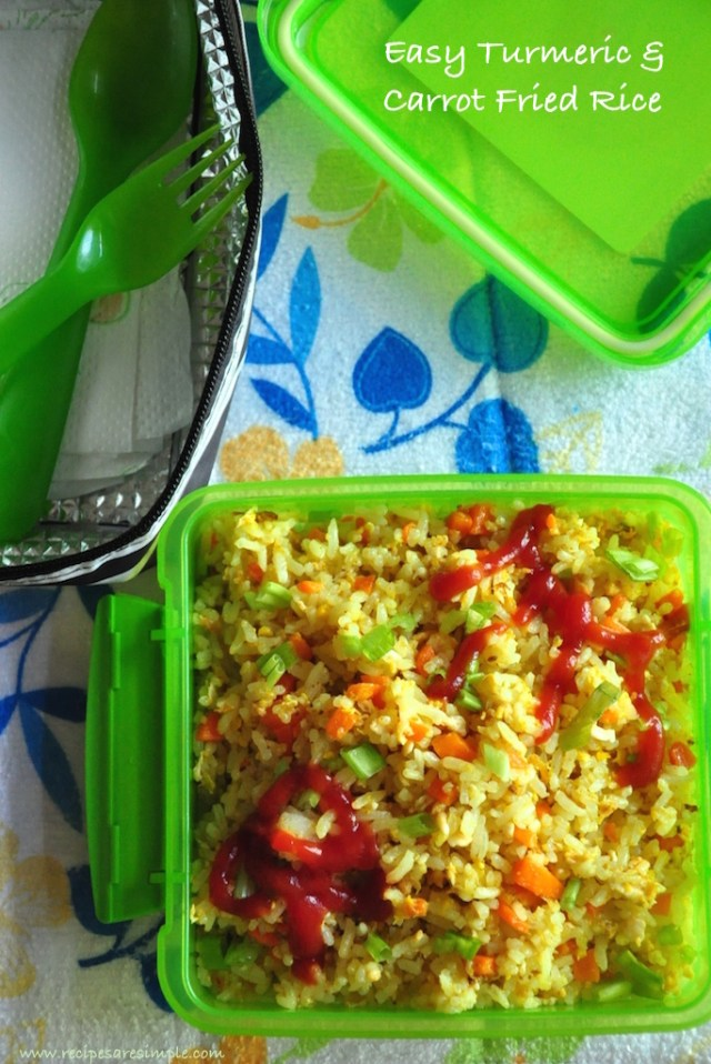 kids lunch box - easy turmeric and carrot fried rice