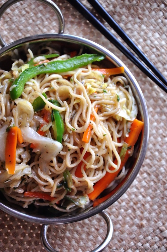 chinese vegetable chow mein - noodle stir fry