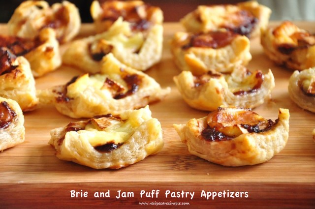 brie and jam puff pastry appetizer