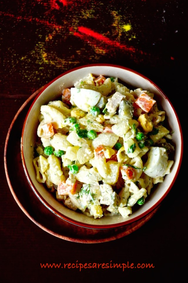 russian salad olivier salad with macaroni
