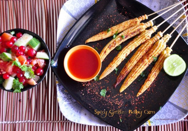 spicy grilled baby corn