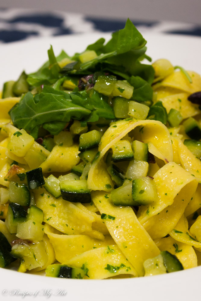 Courgette Pistachio Pasta with Rocket Pesto-3