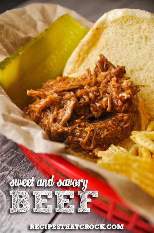 This Sweet Savory Shredded Beef slow cooker recipe is one of our favorite all day slow cooker recipes. Toss four ingredients into a crock pot for 8 hours and serve up perfection every time!