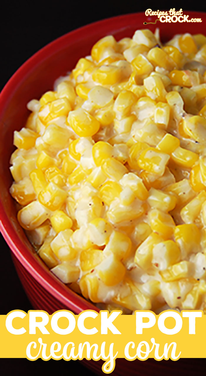 Creamy Crock Pot Corn is THE BEST corn side dish and so simple to make! The slow cooker does all the work. Perfect for the holidays, potlucks, picnics or a treat for a weeknight meal. via @recipescrock