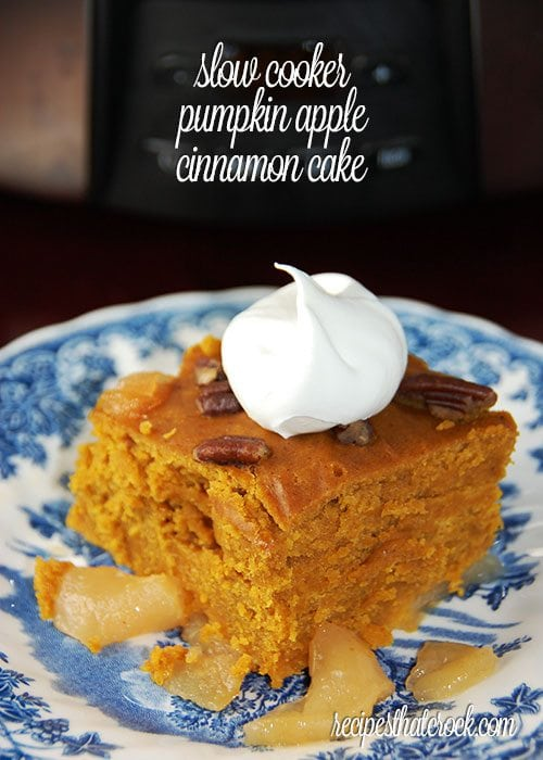 Slow Cooker Pumpkin Apple Cinnamon Cake