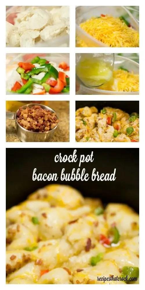 Crock Pot Bacon Bubble Bread. Beautiful Cheesy Garden Monkey Bread Slow Cooker Recipe.