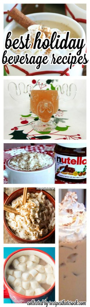 The BEST holiday beverage recipes from some of my favorite bloggers! Iced Coffees, Eggnog Lattes, Protein Coffee, Hot Chocolate Recipes, Pumpkin Lattes, Jolly Juice, Apple Ciders, Sangria and more! Great warm crock pot recipes and chilled holiday beverage options.