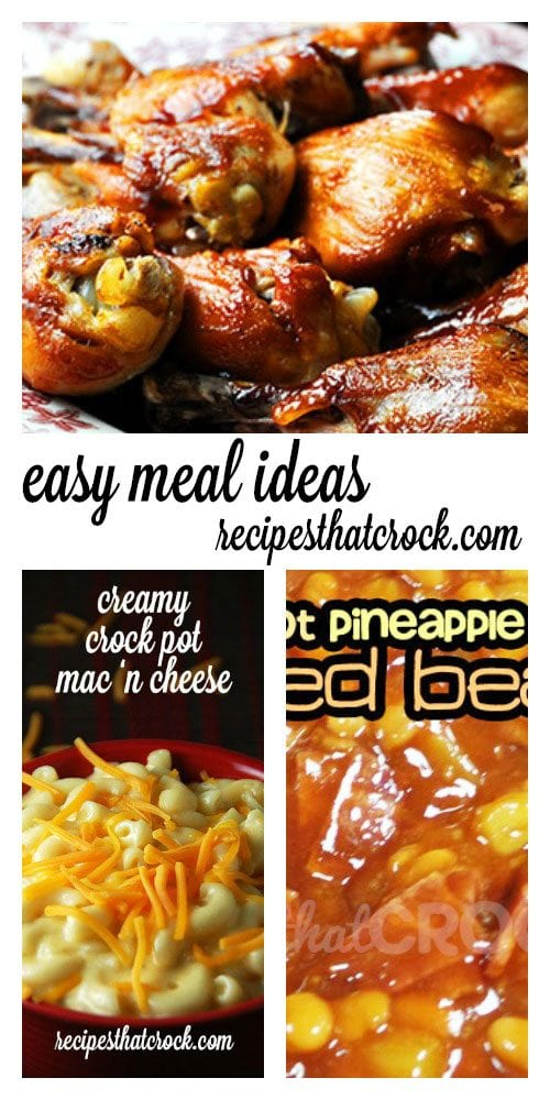 Easy Crock Pot Meal Ideas: These ah-mazing Crock Pot BBQ Legs are so yummy with these Crock Pot Pineapple Baked Beans and Creamy Crock Pot Mac 'n Cheese. The flavors will remind you of a good old fashioned backyard BBQ!