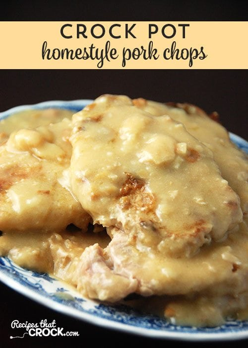 If you love pork chops with gravy, you have to try these Crock Pot Homestyle Pork Chops. Yum! These Homestyle Crock Pot Pork Chops not only give you great flavor with minimal work, they have an awesome gravy that makes my mouth water just thinking about it!