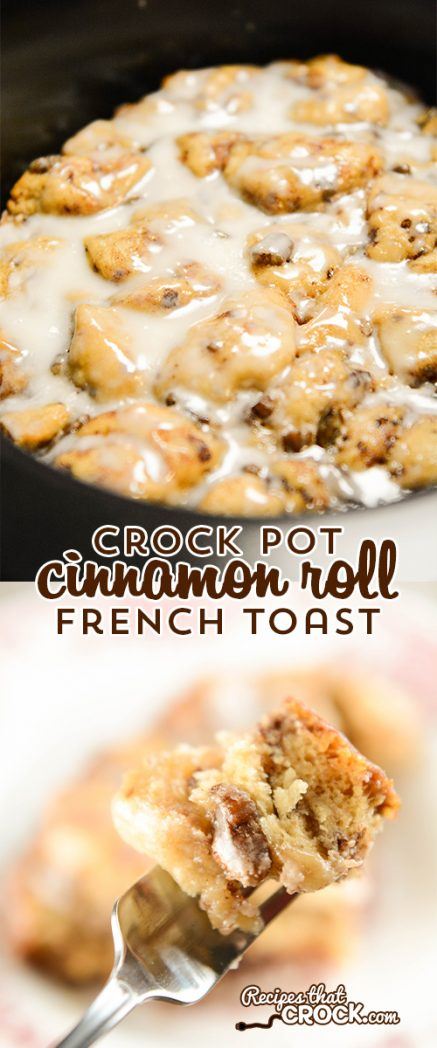 Crock Pot Cinnamon Roll French Toast is the best crock pot cinnamon roll casserole I have ever had! There are never any leftovers when we serve this up for breakfast or dessert.