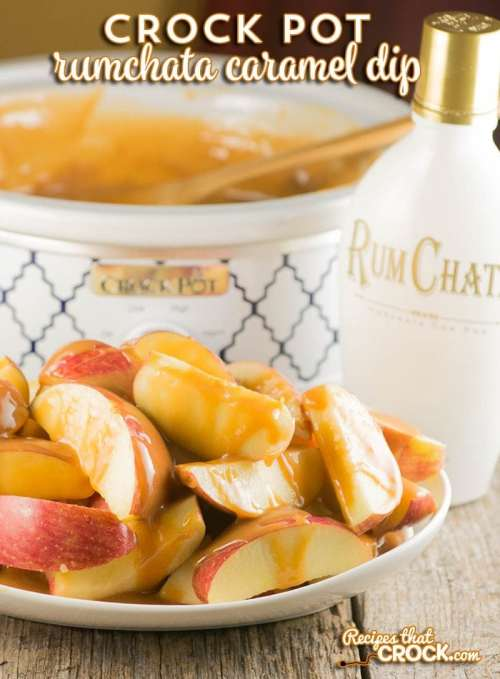 This Crock Pot Rumchata Caramel Dip is incredible! So easy to make and such a fantastic dessert recipe!
