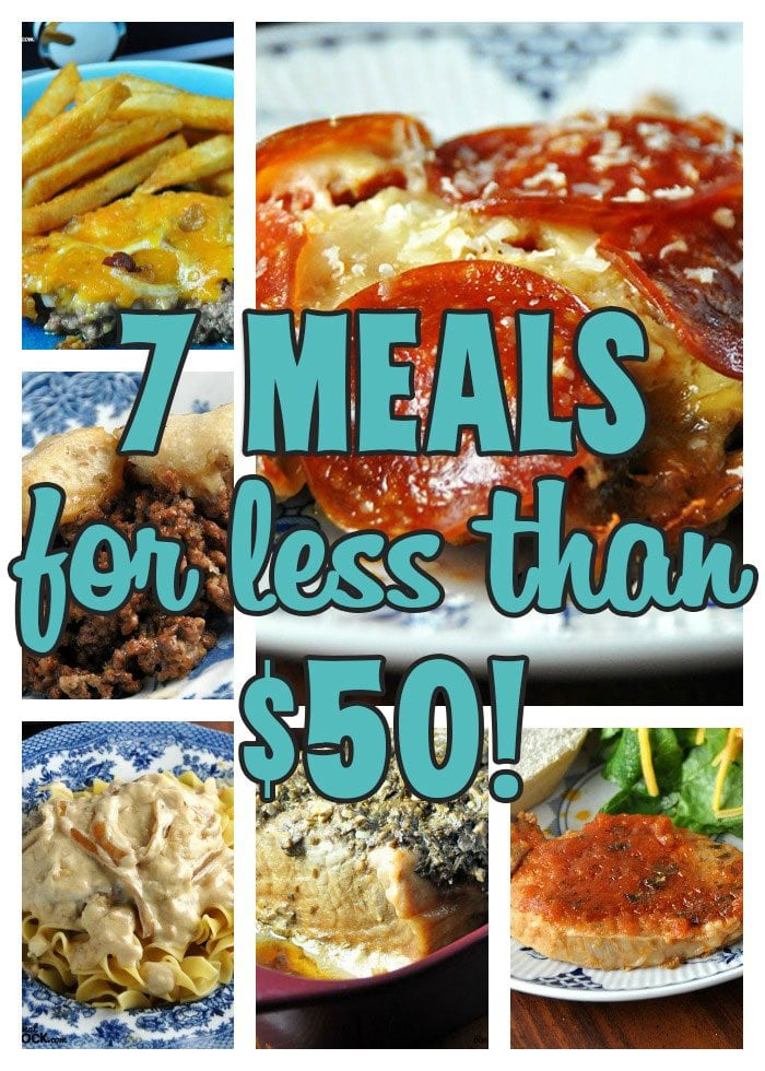 How many meals can you make for 50 bucks? I set out to find out just that and with these yummy recipes, the answer is 7 Meals for Less Than $50!