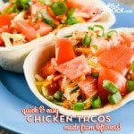 Quick and Easy Chicken Tacos are a quick way to use up leftover chicken. You can use the chicken from our Crock Pot Whole Chicken, a grocery store rotisserie chicken or precooked chicken. The tacos are such a great way to quickly make an entirely different meal!