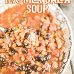 This Crock Pot Tex Mex Salsa Soup Recipe is super simple to throw together, very flavorful AND hearty!