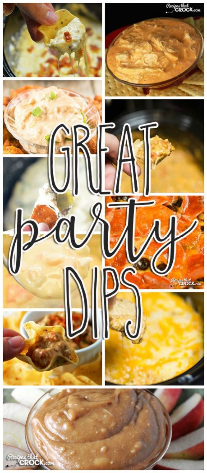 Potlucks, game day parties, pitch-ins, holidays...no matter what the occasion, these Great Party Dips are sure to be the life of any gathering!