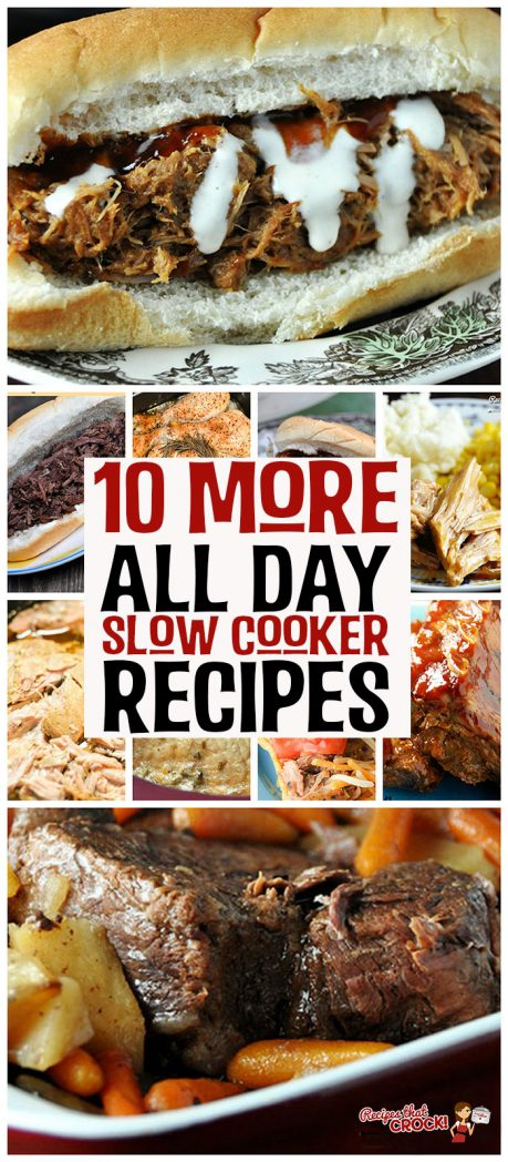 Whether you have a long workday ahead or tons of plans that will keep you from having time (or energy!) to throw dinner together at night, these 10 More All Day Crock Recipes will help you have dinner on the table!