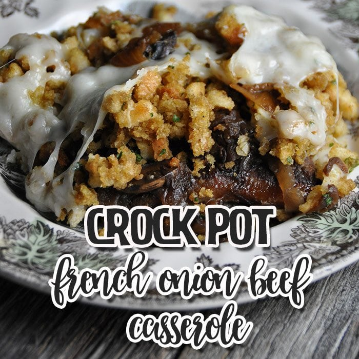 If you love a unique recipe that will knock your socks off, do I have a treat for you! This Crock Pot French Onion Beef Casserole is ah-mazing and like nothing I have made before!