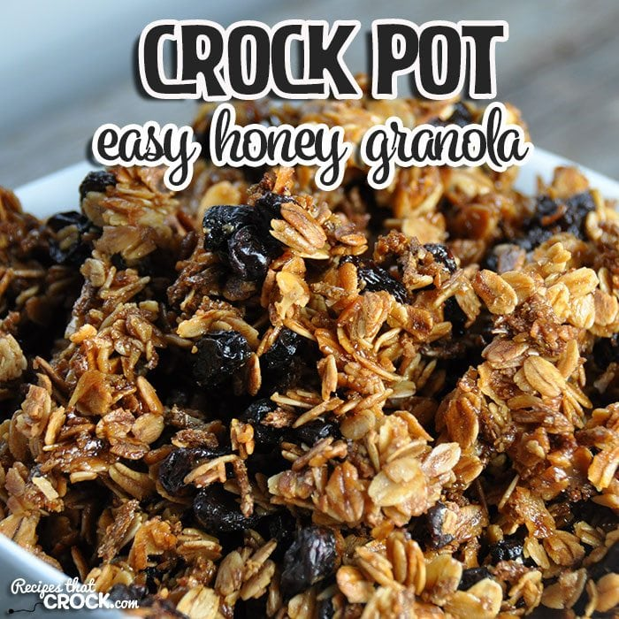 Do you love a snack that is super simple to make and can hang around for up to a couple of weeks? (That is if it doesn't get gobbled up in a couple of days! ) Then you will love this Easy Crock Pot Honey Granola!