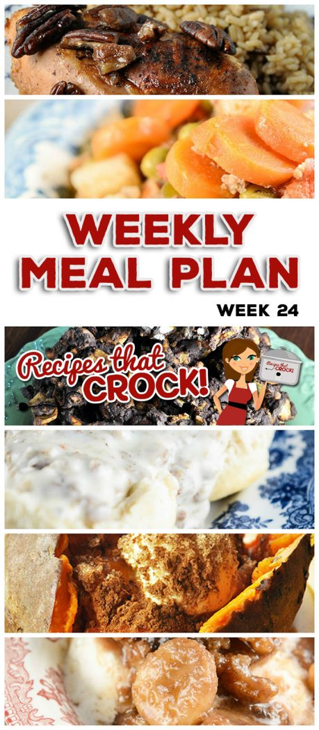 This week's weekly menu features Slow Cooker Sausage Gravy, Crock Pot Rumchata Banana Foster, Crock Pot Maple Praline Chicken, Crock Pot Sweet Potatoes, Easy Crock Pot Teriyaki Beef, Crock Pot Italian Hobo Stew, Crock Pot Cheesy Chicken and Rice Casserole, Crock Pot Root Beer Pork Hoagies, Old Fashioned Crock Pot Baked Beans and Crock Pot Salty Sweet Crunchy Goodness.