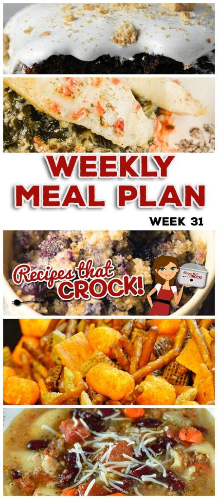 This week's weekly menu features Crock Pot Buffalo Ranch Chicken Nachos, Crock Pot Tomato Rice with Stuffed Tilapia, Crock Pot Minestrone Soup, Crock Pot Cheeseburger Pie, Creamy Crock Pot Dijon Mushroom Pork, Crock Pot Blueberry Breakfast Casserole, Crock Pot Brownie S'mores and Crock Pot Cheesy Party Mix.