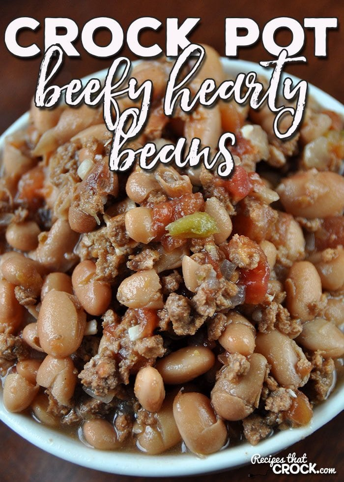These Crock Pot Beefy Hearty Beans are a great way beef up a weeknight dinner. They can be prepped the night before and cook all day!