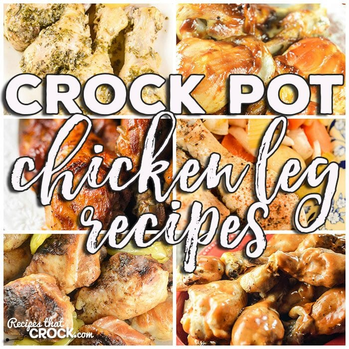 This week for our Friday Favoriteswe have some yummy Crock Pot Chicken Leg Recipes like Crock Pot BBQ Chicken Legs, Crock Pot Mississippi Style Chicken Legs, Crock Pot Pesto Lemon Pepper Chicken Legs, Crock Pot BBQ Ranch Chicken Legs, All Day Crock Pot Chicken Leg Dinner and Crock Pot Chicken Drumsticks.