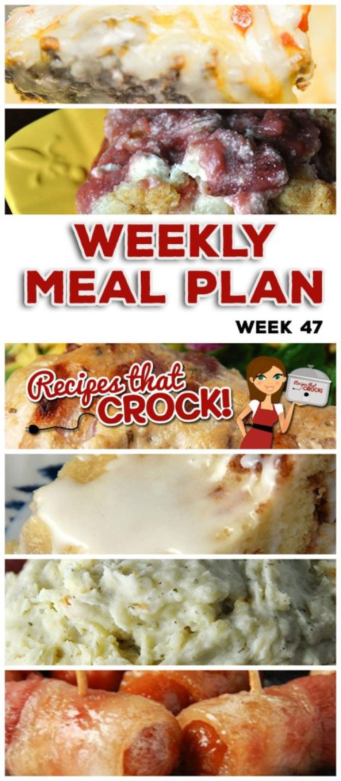 This week's weekly menu features Crock Pot Meatloaf Parmesan, Crock Pot Green Bean Casserole, Crock Pot Garlic Bacon Chicken, Garlic Ranch Crock Pot Mashed Potatoes, Beefy Cheesy Taco Soup, Crock Pot Bacon Mushroom Pork Roast, Crock Pot Cheeseburgers, Roasted Garlic French Fries, Crock Pot Glazed Coffee Cake, Crock Pot Bacon Brown Sugar Sausages and Crock Pot Strawberry Cream Dump Cake!