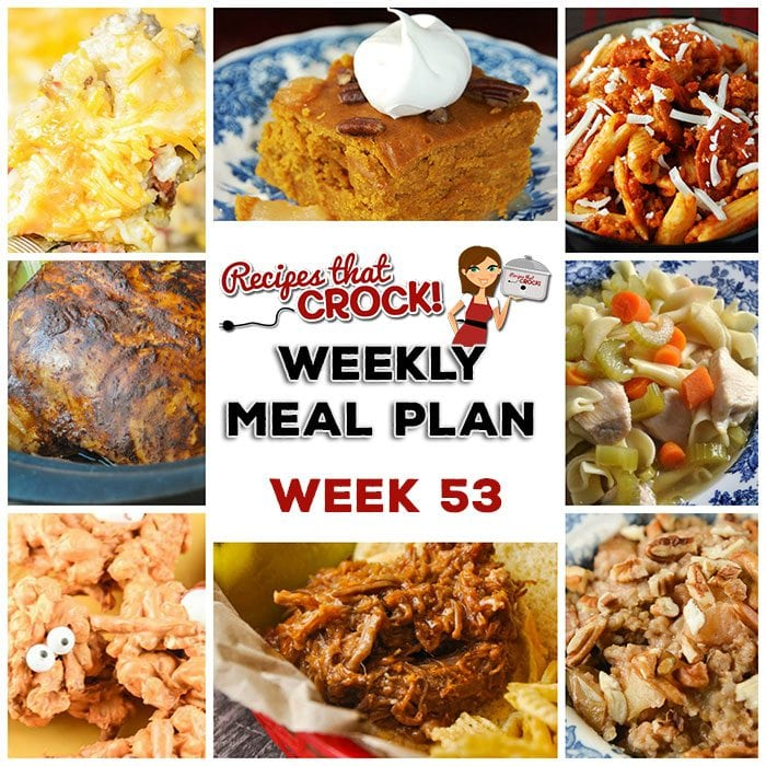 This week's weekly menu features Slow Cooker Chinese 5 Spice Chicken, Crock Pot Savory Parmesan Rice, Crock Pot Sweet Corn Sausage Rice Casserole, Crock Pot Chicken Noodle Soup, Sweet and Savory Beef, Slow Cooker Pepperoni Pizza Penne, Crock Pot Monster Munch, Crock Pot Steel Cut Oatmeal and Slow Cooker Pumpkin Apple Cinnamon Cake.