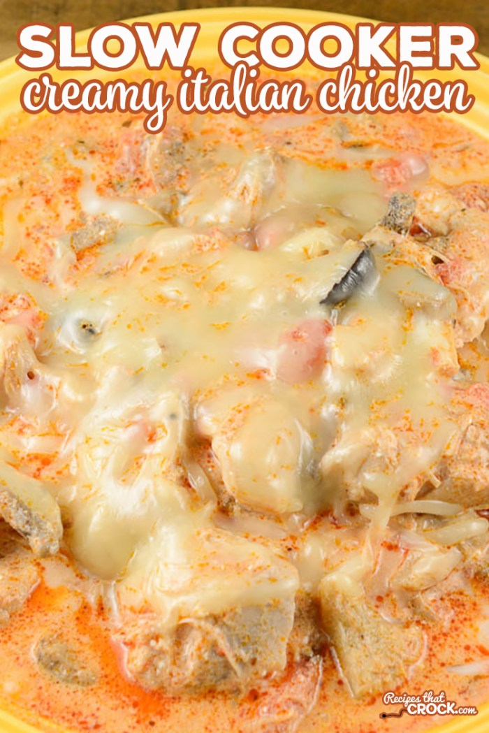 Slow Cooker Creamy Italian Chicken is a quick and easy crock pot recipe is a great all-day slow cooker recipe that tastes amazing! #LowCarb #CrockPot #Chicken
