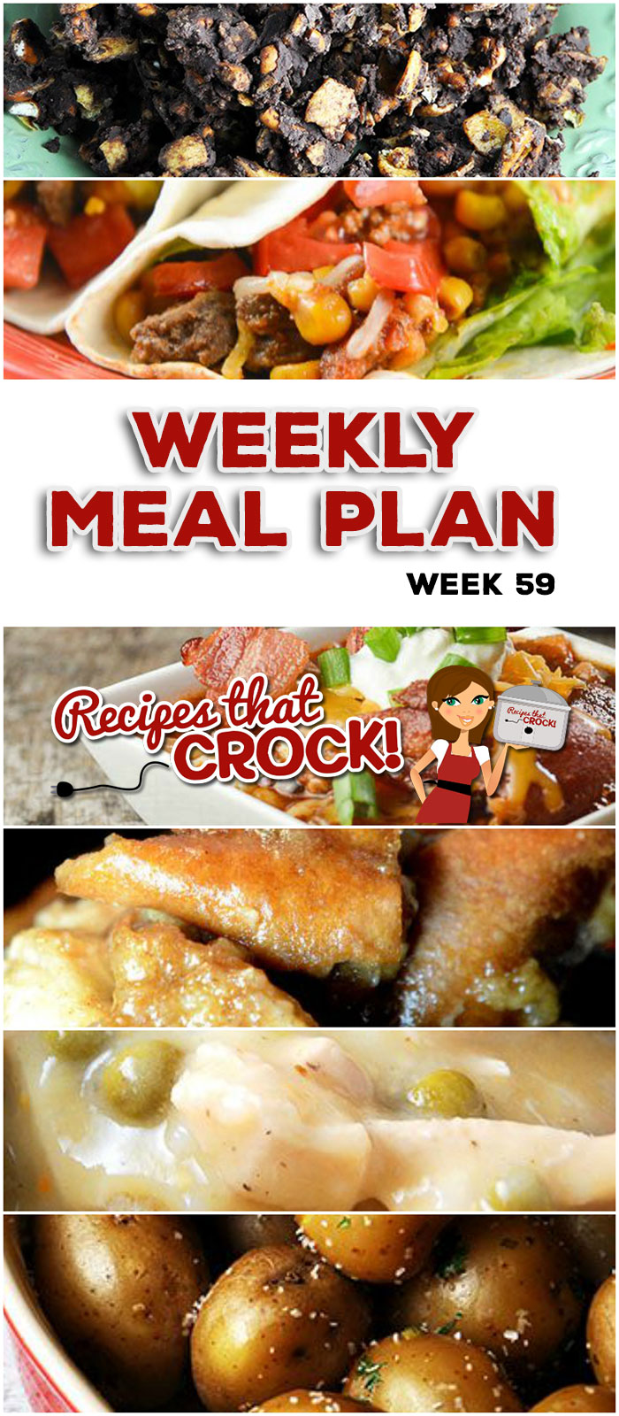 This week's weekly menu features Crock Pot Chicken Pot Pie, Crock Pot Beefy Tex Mex Tacos, Meat Lover's Crock Pot Chili, Easiest Crock Pot Pulled Pork Ever, Crock Pot Parsley Potatoes, Crock Pot Pizza Tater Tot Casserole, Peaches and Cream Overnight Oatmeal, Crock Pot Salty Sweet Crunchy Goodness and Crock Pot Pumpkin Pie French Toast Casserole.