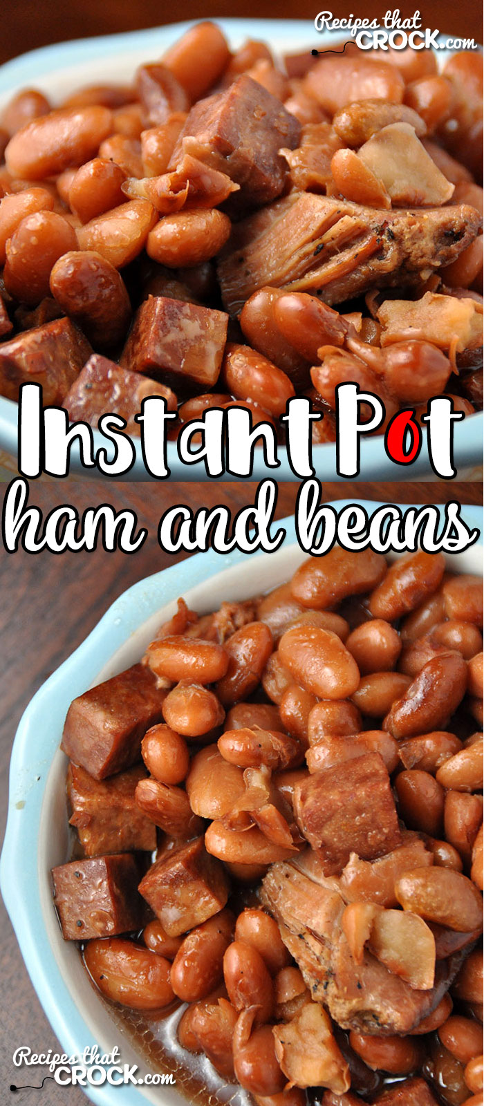 Do you love ham and beans, but don't have all day to cook them? Then you are going to love this Instant Pot Ham and Beans recipe! Simple and flavorful! No soaking required! via @recipescrock