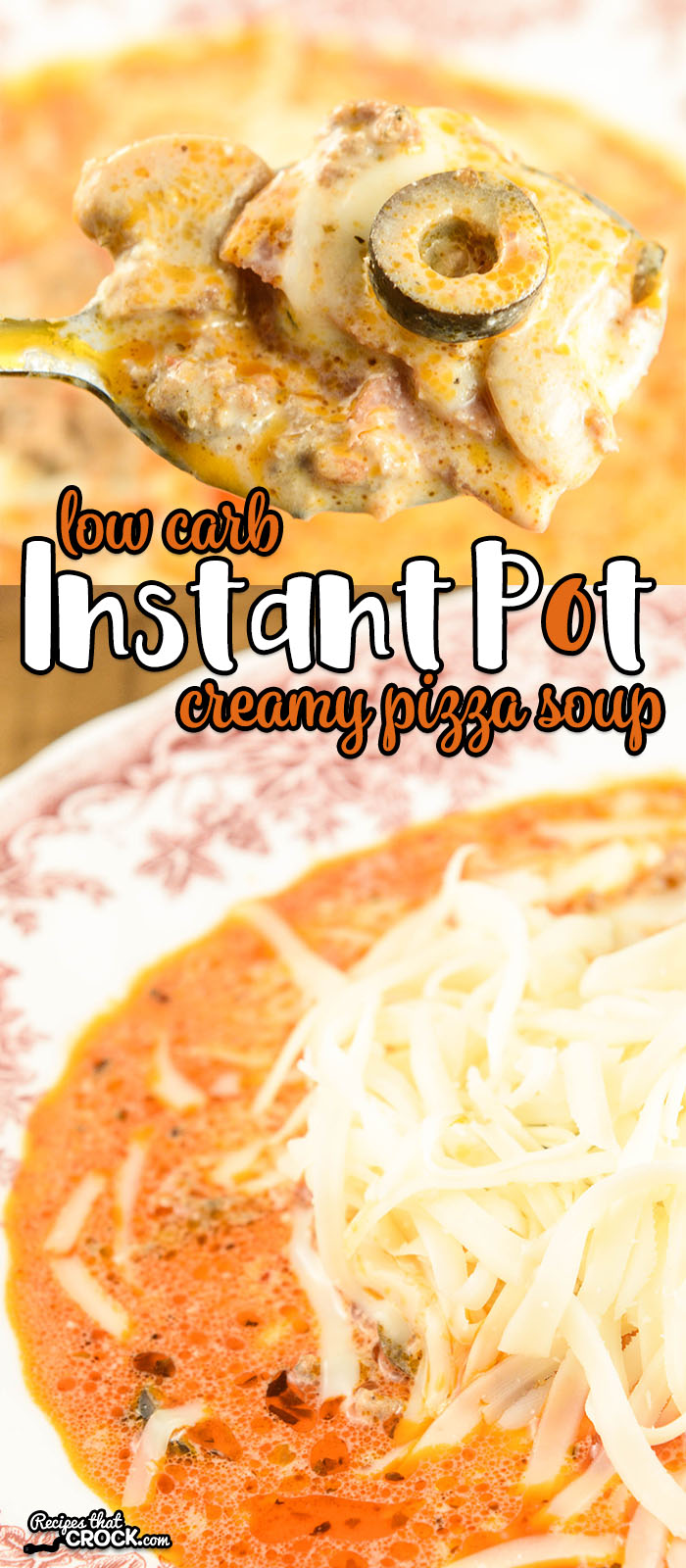 Are you looking for easy instant pot or electric pressure cooker recipes? This Low Carb Instant Pot Creamy Pizza Soup is so easy to toss together and so delicious no one would ever guess it was low carb!