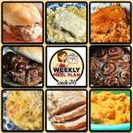This week's weekly menu features Crock Pot Chicken Alfredo, Oh-So-Flavorful Pork Roast, Easy Pork Chop Tomato Rice, Crock Pot Shredded Beef Sandwiches (Virginia Style), Crock Pot Cheesy Chicken Fajita Noodle Soup, Crock Pot Pizza Burgers, Crock Pot Cheesy Chicken Cauliflower Casserole, Crock Pot Fiesta Cheese Dip, Crock Pot Cinnamon Roll Mixed Berry Cobbler and Creamy Crock Pot Oatmeal Recipe.