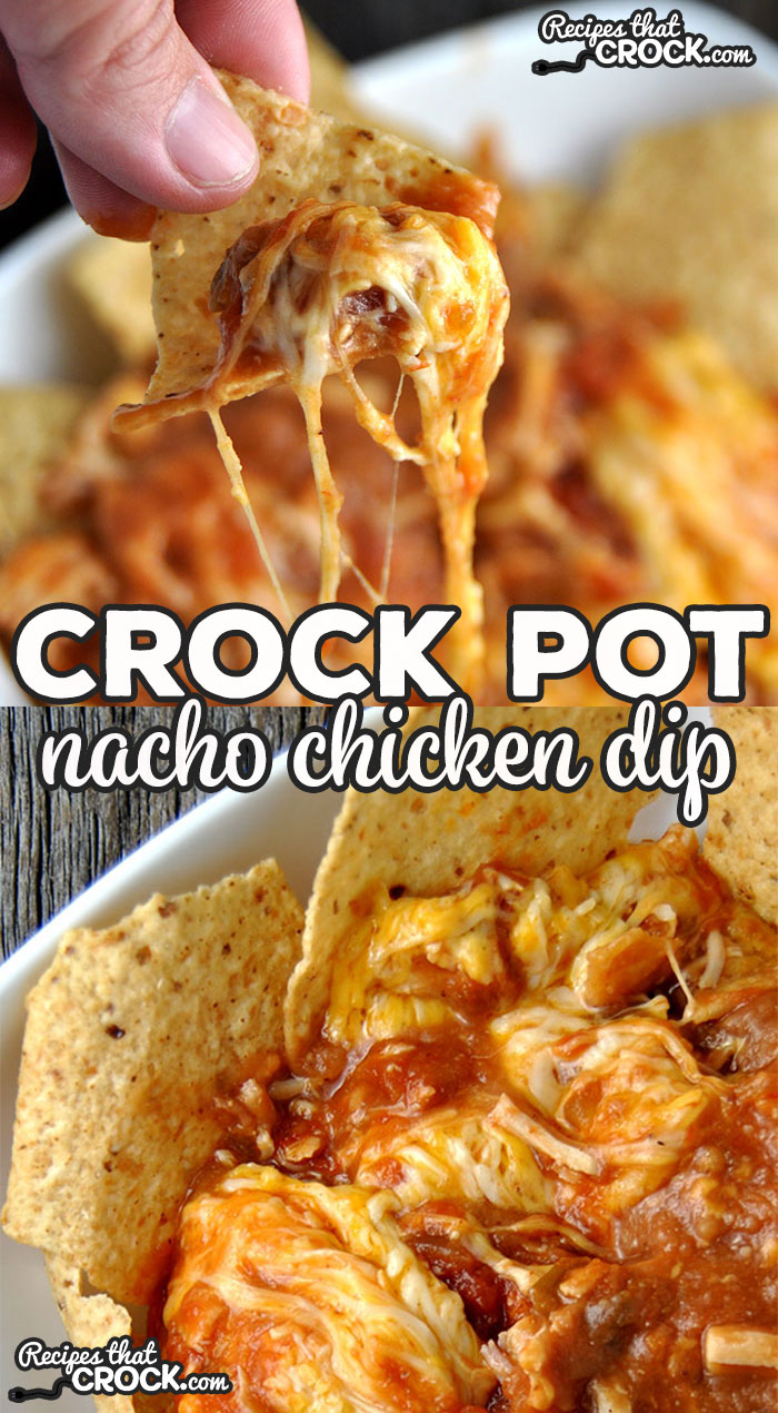 It doesn't get much easier than this delicious Crock Pot Nacho Chicken Dip! It is sure to be a hit with everyone!
