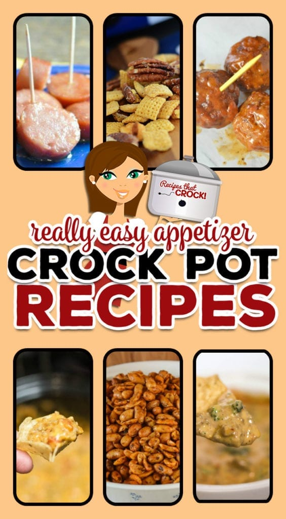 TheseSimple Crock Pot Appetizers & Dips are perfect for parties and potlucks. These dishes will have your friends and family asking you for the recipe! Recipes include: Beefy Broccoli Dip, Crock Pot Sausage Cheese Dip, Crock Pot Spinach and Bacon Queso Dip, Crock Pot Cheesy Bean Dip, Crockpot Cornbread Chex-Mix, Crockpot Christmas Cocktail Wieners, Slow Cooker BBQ Bacon-Ranch Meatballs, Crock Pot Chili Nuts & Crock Pot Smoked Sausage Bites.