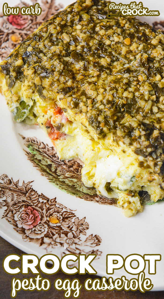 Our Crock Pot Pesto Egg Casserole is an easy low breakfast casserole with fluffy eggs, savory pesto, tomatoes, basil and mozzarella cheese. This low carb recipe is perfect for brunch, potlucks and holidays.