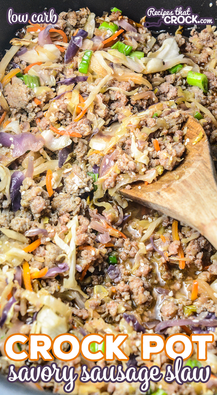Our Crock Pot Savory Sausage Slaw is a hearty Asian-inspired dish with browned sausage, sesame flavored shredded cabbage and green onion. This low carb one pot meal is a family favorite in our house!