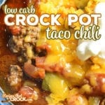 Our Low Carb Crock Pot Taco Chili is a hearty soup with savory beef, tomatoes, peppers and zucchini. Taco seasoning and cumin add a smoky flavor to this low carb chili.