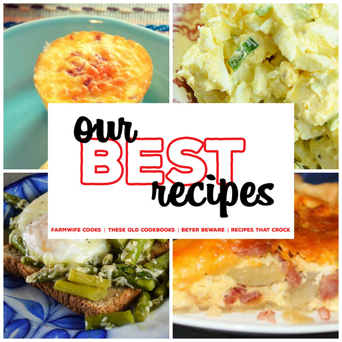 This collection of 8 Great Egg Recipes includes Ham, Potato and Cheddar Quiche, Crock Pot Egg Salad, Make-Ahead Ham and Cheese Quiche, Sous Vide Egg Bites and more!