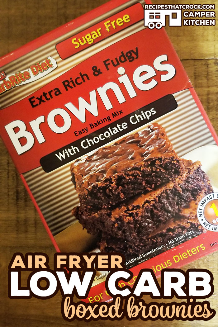 Are you looking for a low carb boxed brownie mix? This Air Fryer Low Carb Boxed Brownie Recipe shares our favorite box mix that is low on carbs, has a great fudgy texture and no sugar free after-taste.