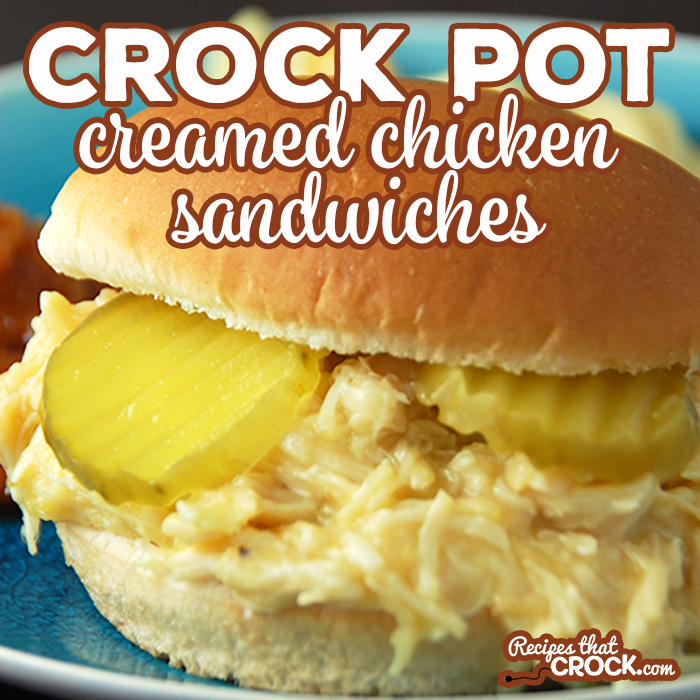 Feeding a crowd? Looking for an easy recipe? This Crock Pot Creamed Chicken Sandwich is a snap to throw together and makes around two dozen sandwiches! This classic old fashioned recipe is always a favorite!