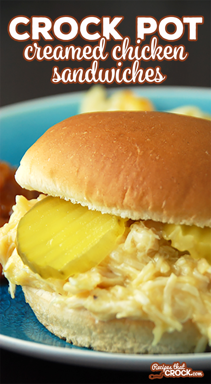 Feeding a crowd? Looking for an easy recipe? This Crock Pot Creamed Chicken Sandwich is a snap to throw together and makes around two dozen sandwiches! This classic old fashioned recipe is always a favorite! via @recipescrock