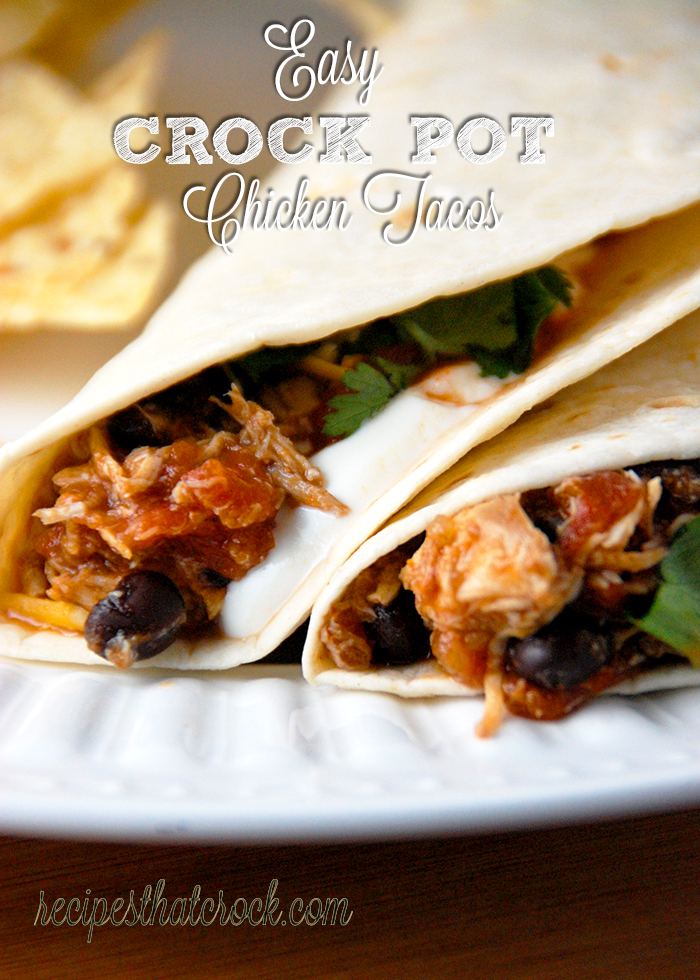 Feel like chicken tonight? These Easy Crock Pot Chicken Tacos are absolutely delicious and super quick to throw together!