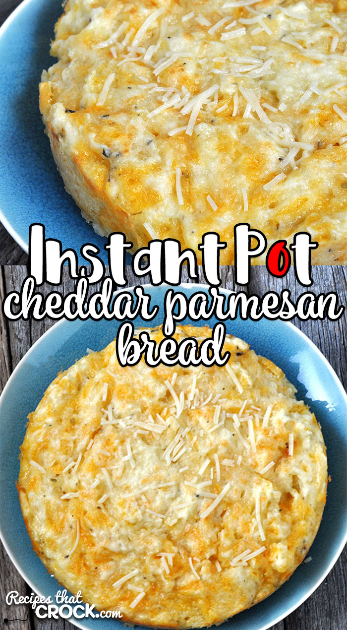This Instant Pot Cheddar Parmesan Bread recipe makes having homemade bread as a side a snap! It is savory and cooks in just 14 minutes! You're gonna love it!