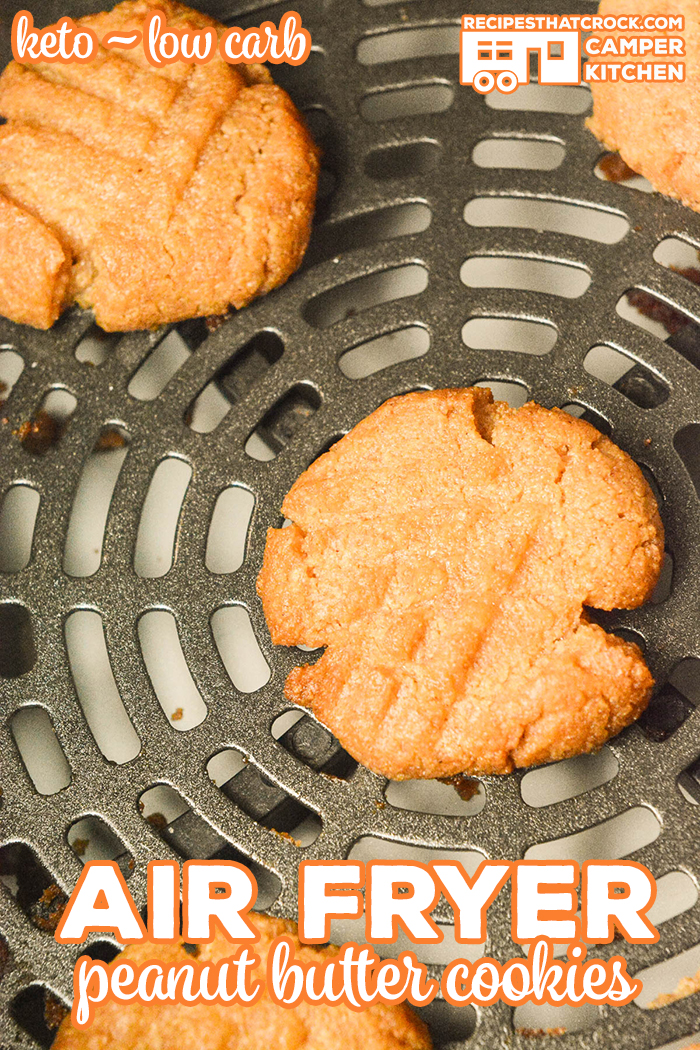 Did you know you can make cookies in your air fryer?! You can use this method to make our Sugar Free Peanut Butter Cookies or our regular peanut butter cookies. Ninja Foodi Air Crisp, traditional air fryer and oven instructions. Cookie recipe is low carb and keto diet friendly.