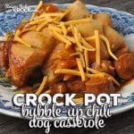 This super easy Bubble Up Crock Pot Chili Dog Casserole recipe was an instant family favorite in my house! I bet it will be in your home too!